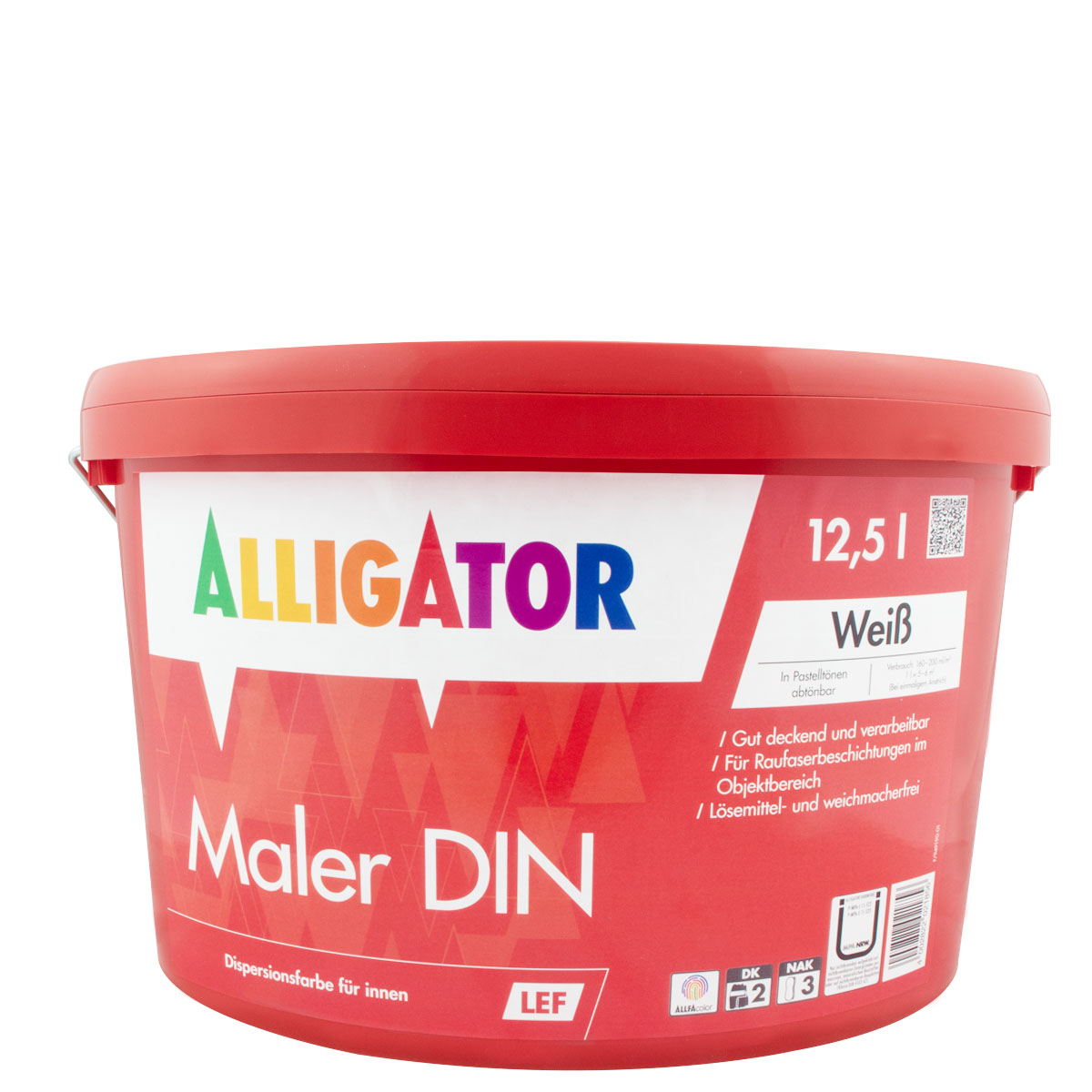 Alligator Maler DIN LEF 15L  weiss, Dispersions-Innenfarbe, ca.RAL9016