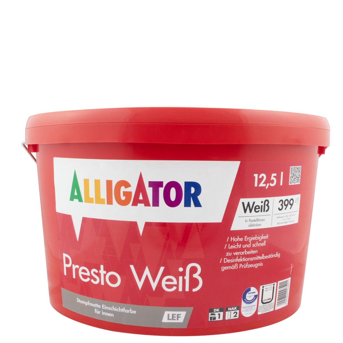Alligator Presto Weiß LEF 12,5L MIX PG A ,Dispersions-Innenfarbe