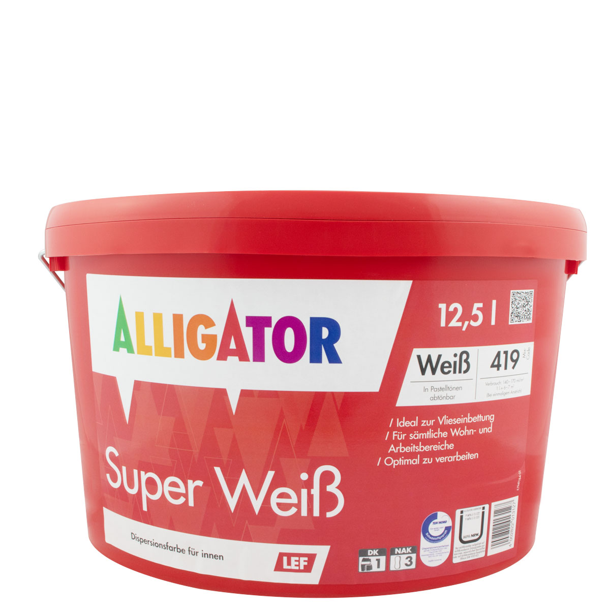 Alligator Super Weiß LEF 12,5L weiss, Dispersions-Innenfarbe