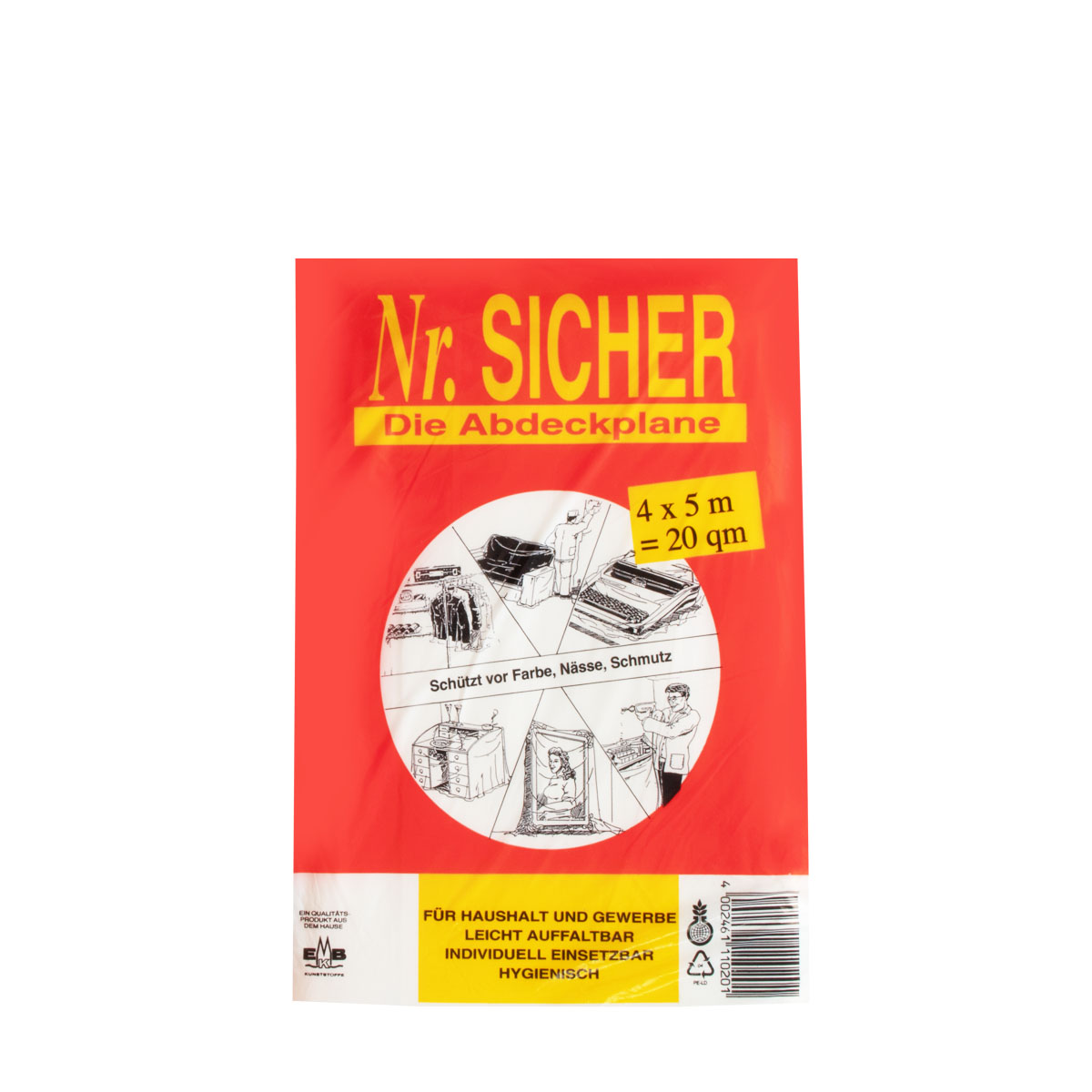 Abdeckfolie, Abdeckplane PE 10my ,NR Sicher, 4x5m (20qm), Die Abdeckplane