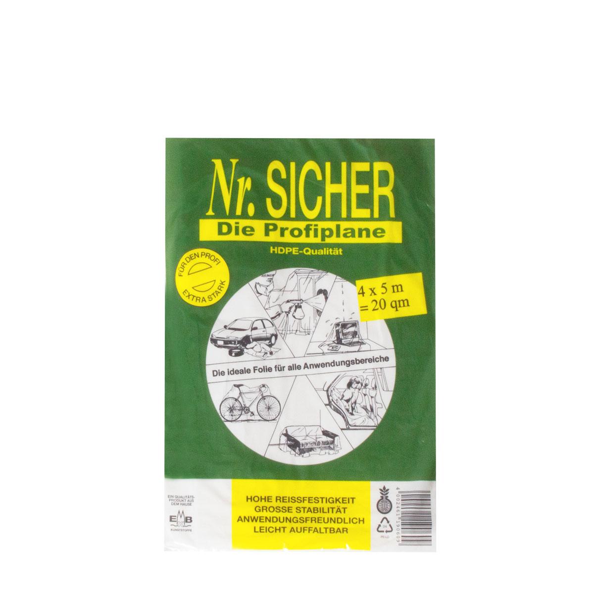 Abdeckfolie, Abdeckplane HDPE 12my ,NR Sicher, 4x5m (20qm) Profiplane(grün)