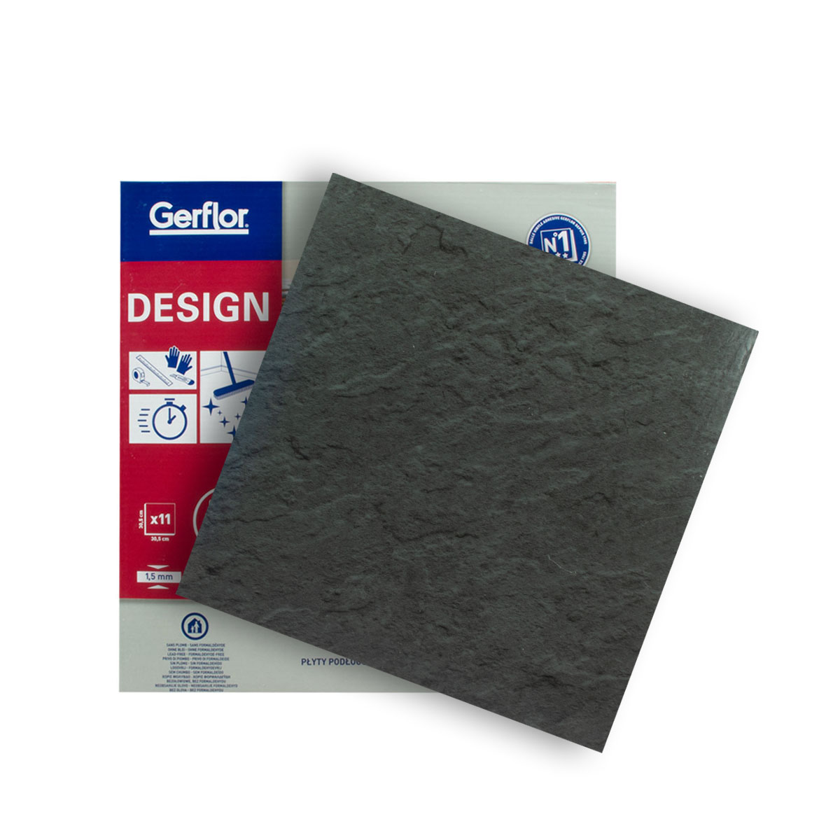 Gerflor Vinyl Design Fliese 0220 Slate Anthracite 1qm, selbstklebend