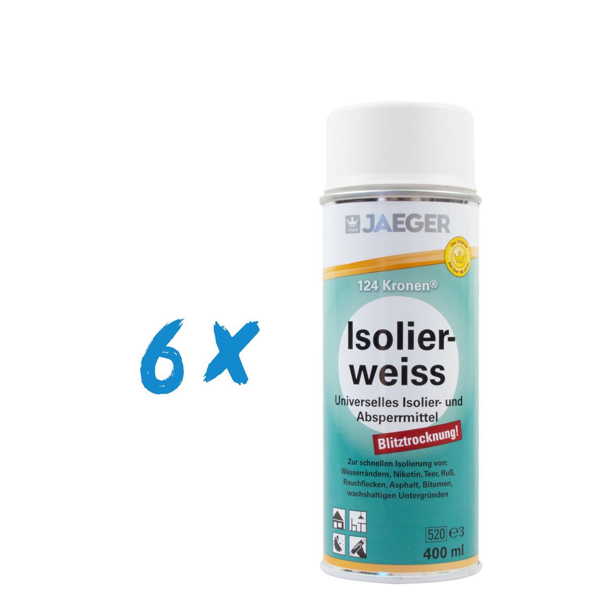 6 x Jaeger 124 Kronen Isolierweiss 400ml Isolierspray, weiß