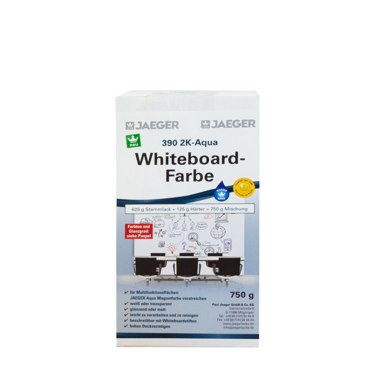Jaeger 2K-Aqua Whiteboardfarbe Weiss Ral 9016 Glänzend 750g