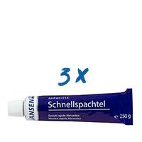 3x Jansen Ahrweitex-Schnellspachtel 250g Tube, Malerspachtel