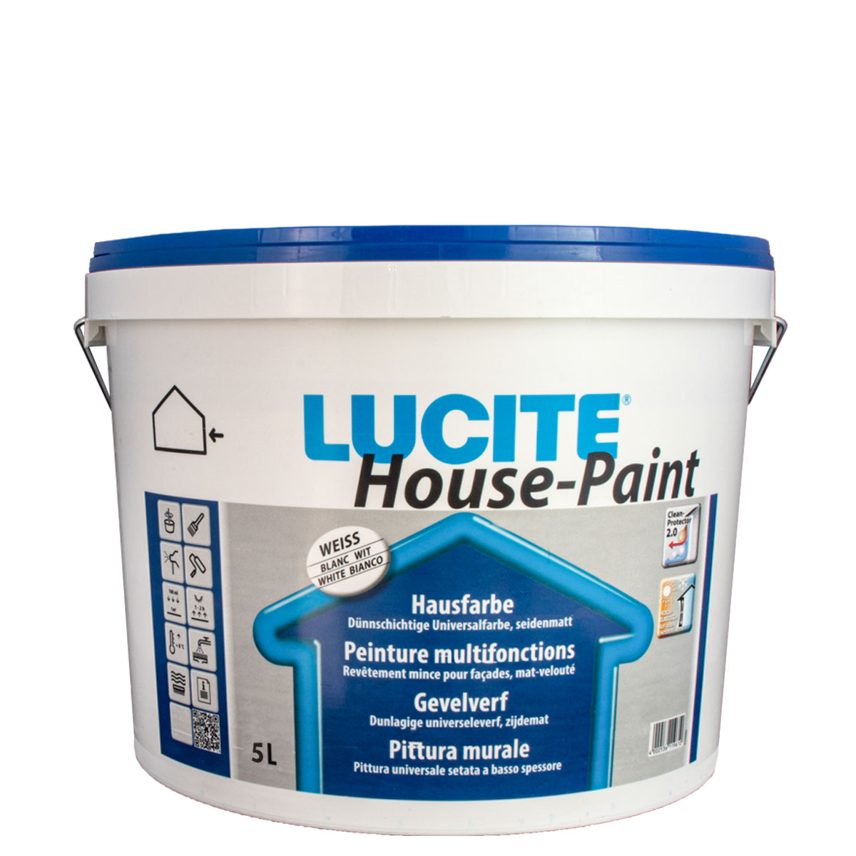 Lucite House Paint 5L weiss 1000T ,Hausfarbe, Fassadenfarbe