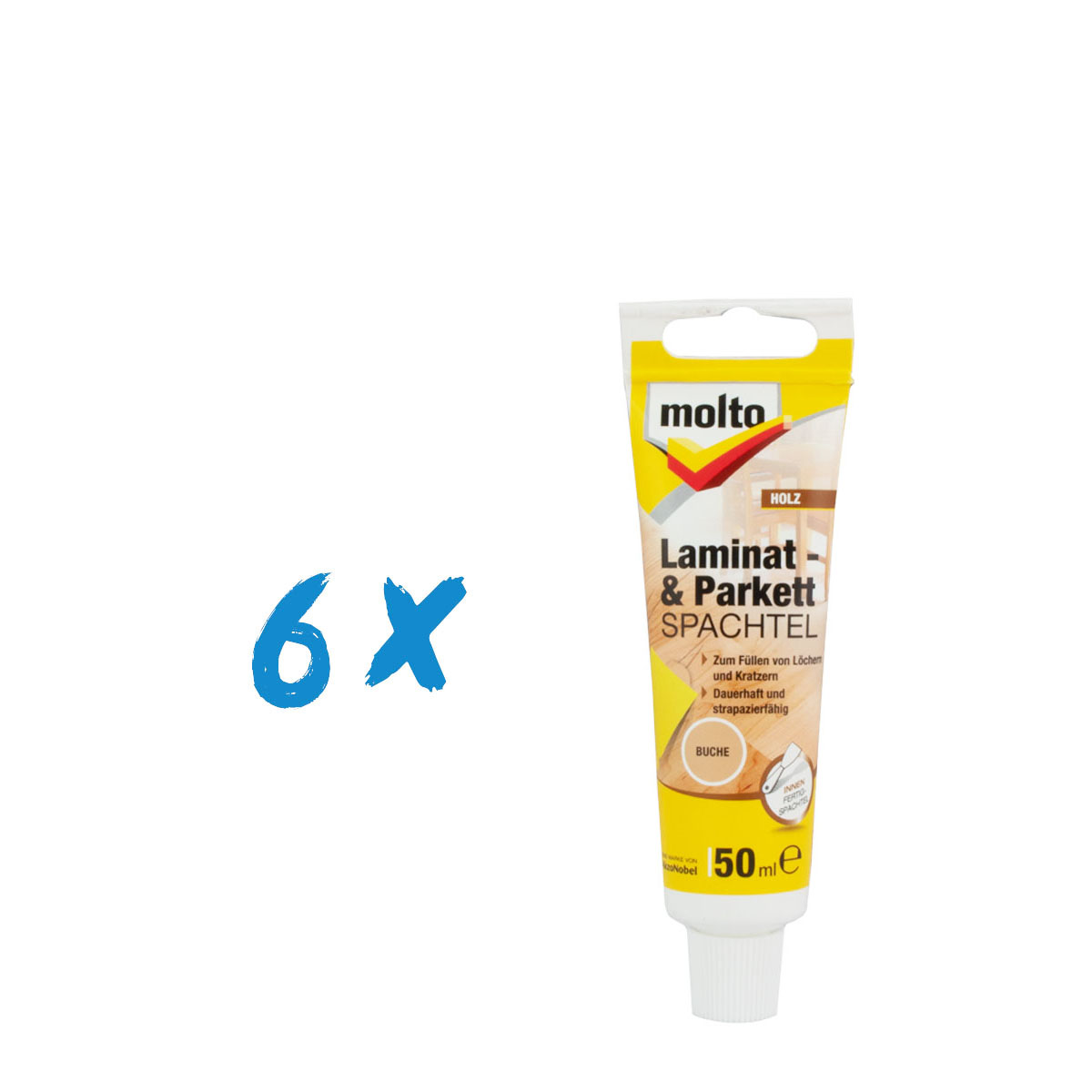 6x Molto Laminat & Parkett Spachtel Buche 50ml