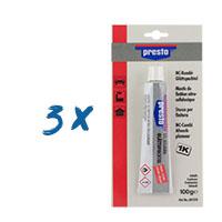 3x Presto 1K finish NC-Kombi Glättspachtel 100g SB, olivgrün #601518