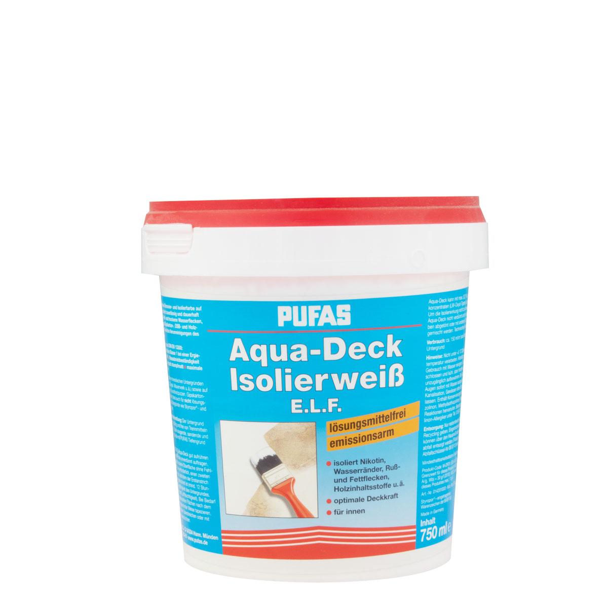 Pufas Aqua-Deck Isolierweiß E.L.F. 750ml ,Nikotinfarbe