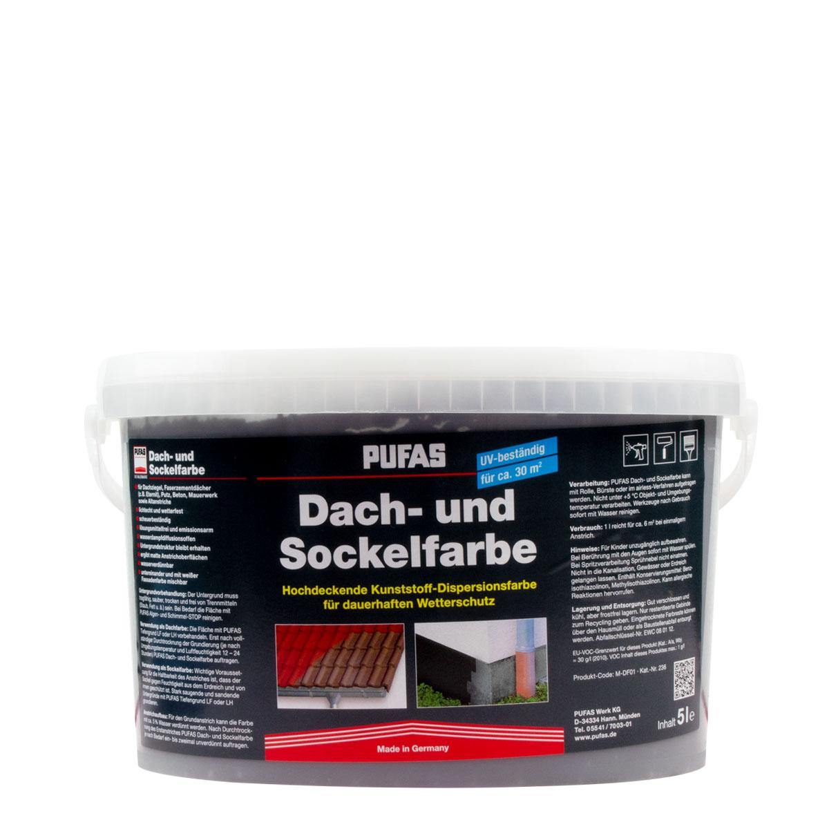 Pufas Dach- und Sockelfarbe Schiefer 5L