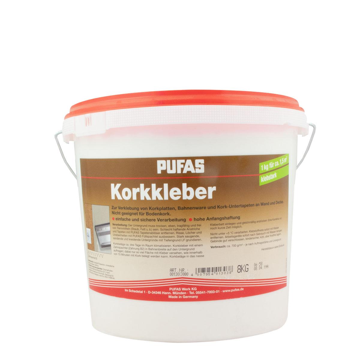 Pufas Korkkleber 8kg, gebrauchsfertiger Dispersionskleber (2x4kg)