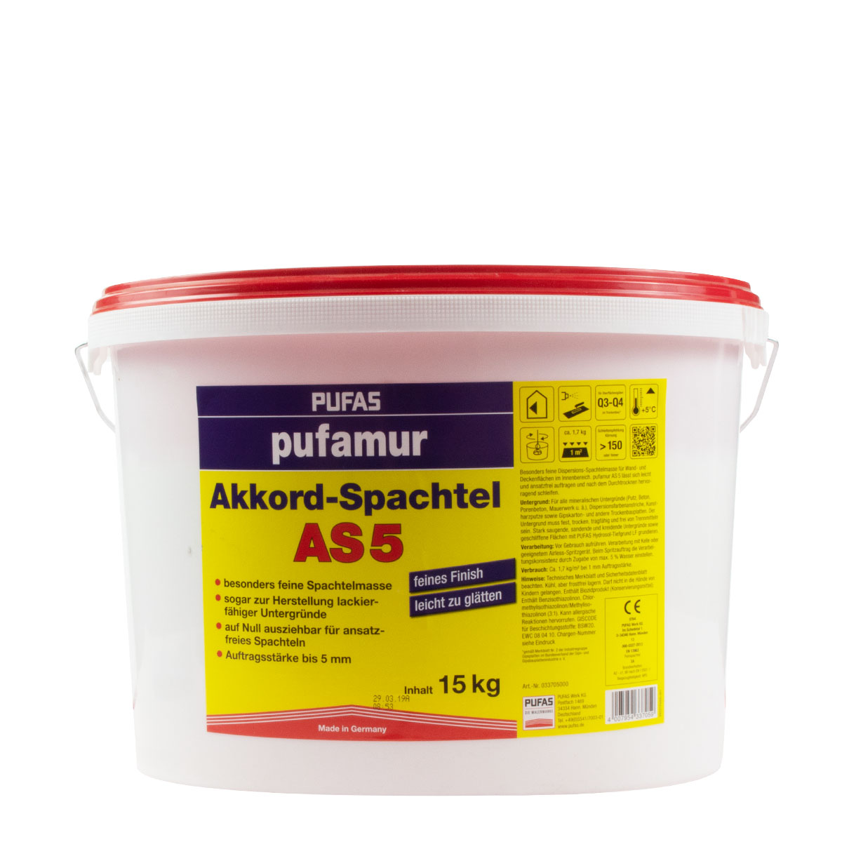 Pufas Pufamur Akkordspachtel AS5 15Kg gebrauchsfertiger Kunstharzspachtel