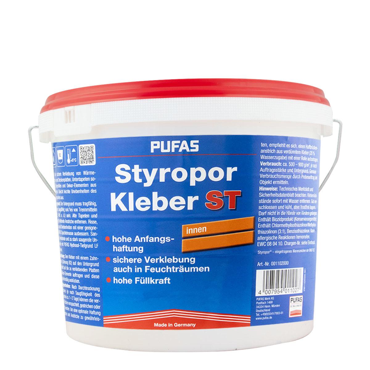 Pufas Styroporkleber 14Kg, Gebrauchsfertiger Dispersionsklebstoff