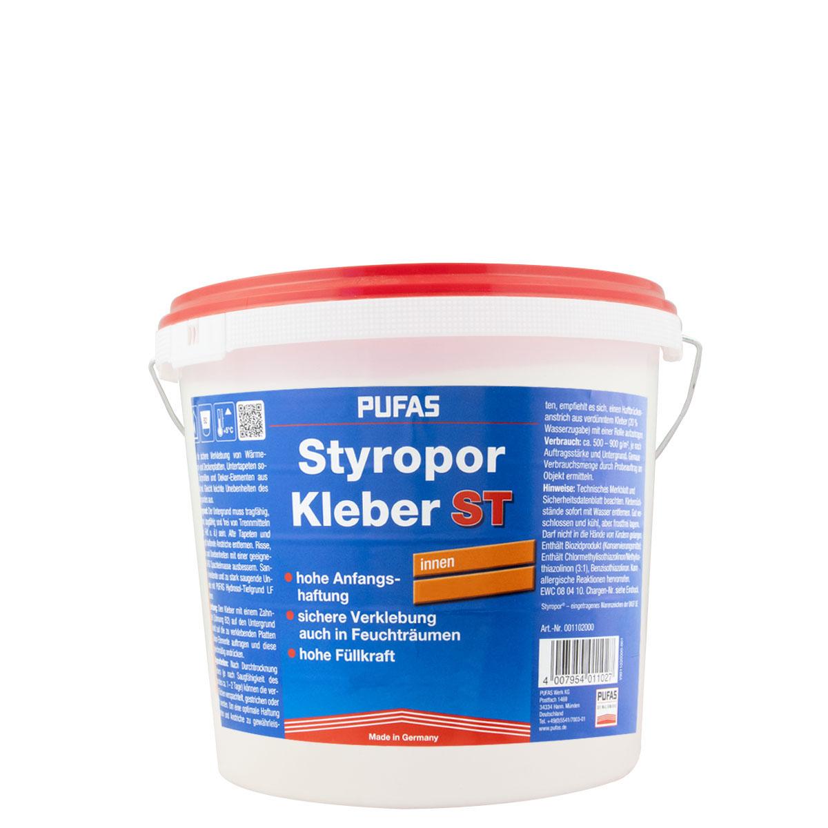 Pufas Styroporkleber 8Kg, Gebrauchsfertiger Dispersionsklebstoff