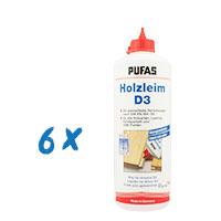6 x Pufas Holzleim D3 1Kg, wasserfest