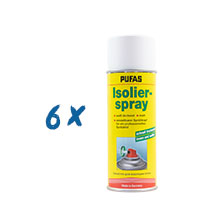6x Pufas Isolierspray 400ml weiß, Flecken-Decker