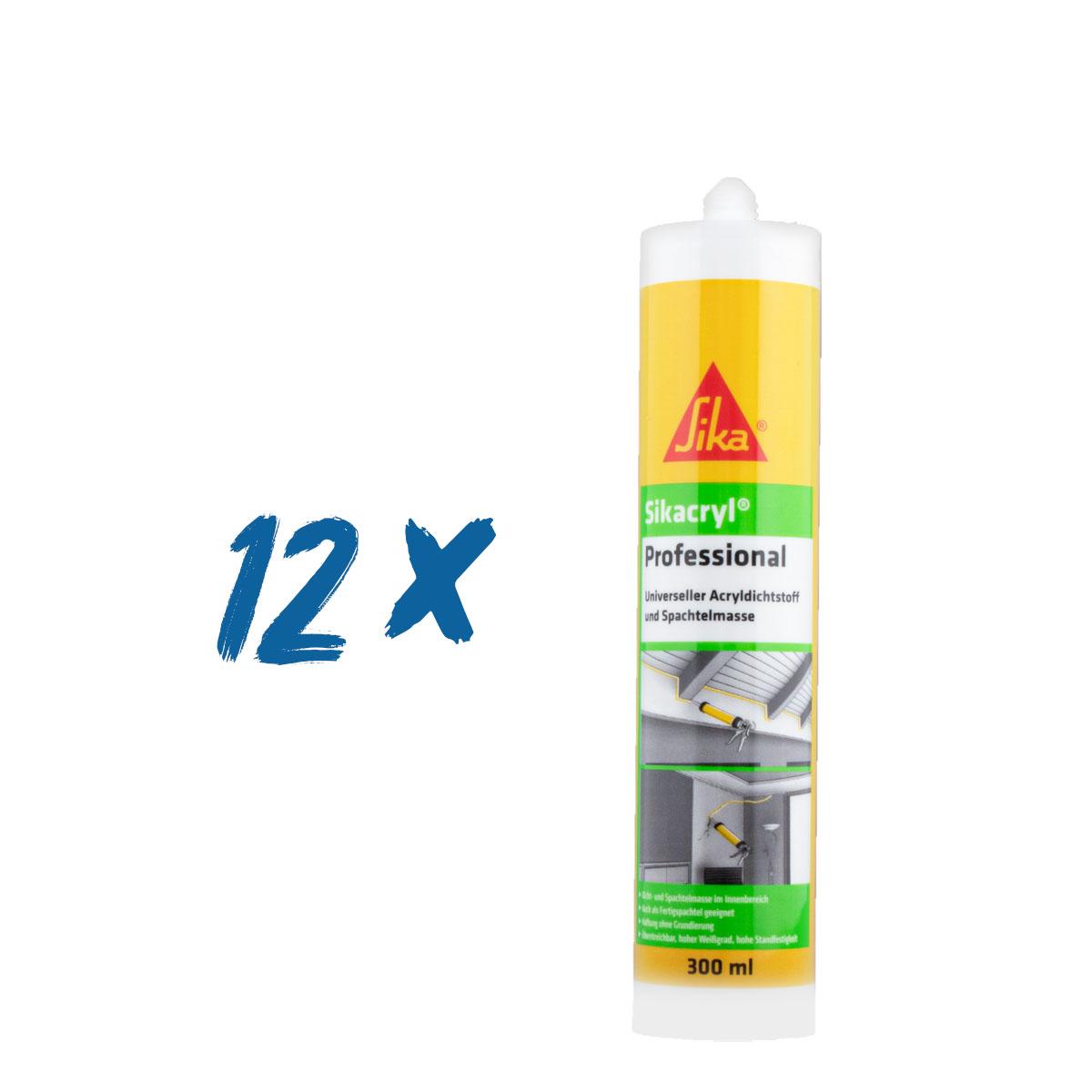 12x Sikacryl Professional weiß 300ml Kartusche, Acryl, Karton