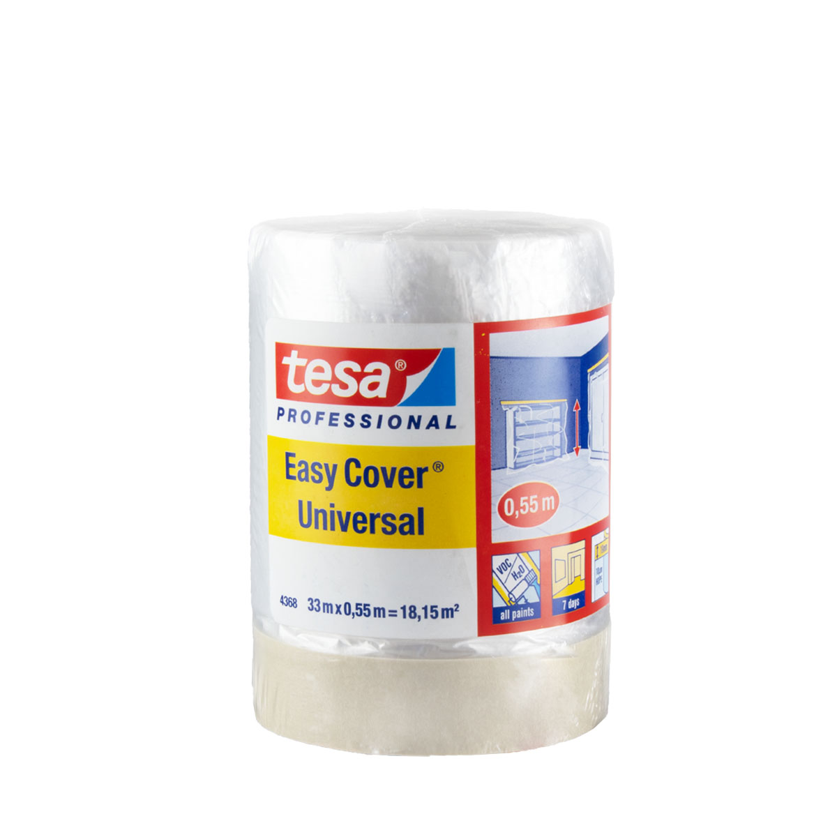 Tesa Easy Cover 4368 Universal 1800mm x 33m, Abdeckfolie 2in1