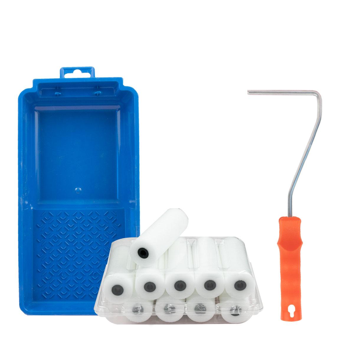 Lackierset- 10x Schaumstoffwalze gerade 11cm + HK-Bügel 28cm + Farbwanne 14x30cm