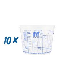 10x Mischbecher 750ml Farbmischbecher mit Skala, MP