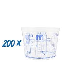 200x Mischbecher 750ml Farbmischbecher mit Skala, MP